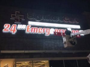 custom lighted sign installation