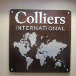 wood & metal office logo wall plaque