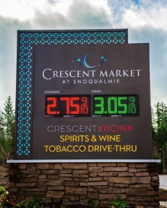 custom digital message center gas station monument